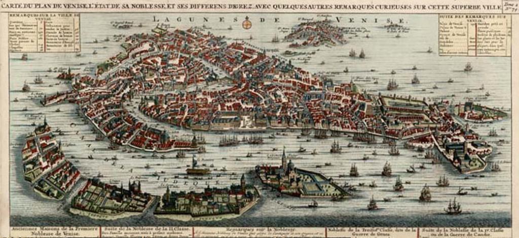 Plano de Venecia en el siglo XVIII, establecido por Henri Chatelain en 1719