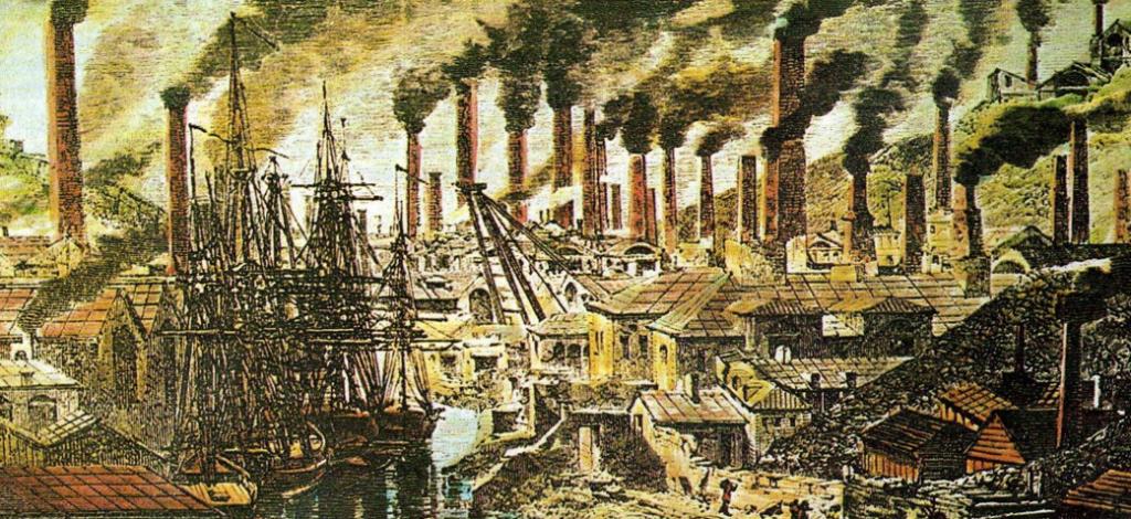 Pintura anónima del paisaje de la ciudad durante la Primera Revolucion Industrial